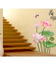 Decal Dán Tường Hoa Sen Hồng Lá Xanh GS9663 OEM 3