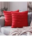 Gối Tựa Lưng Cotton Sọc Tua Rua – Đỏ