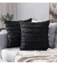 Gối Tựa Lưng Cotton Sọc Tua Rua – Đen