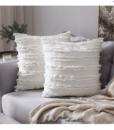 Gối Tựa Lưng Cotton Sọc Tua Rua – Trắng