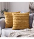 Gối Tựa Lưng Cotton Sọc Tua Rua – Vàng